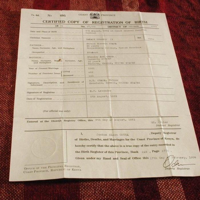 Obama forged Kenyan birth certificate